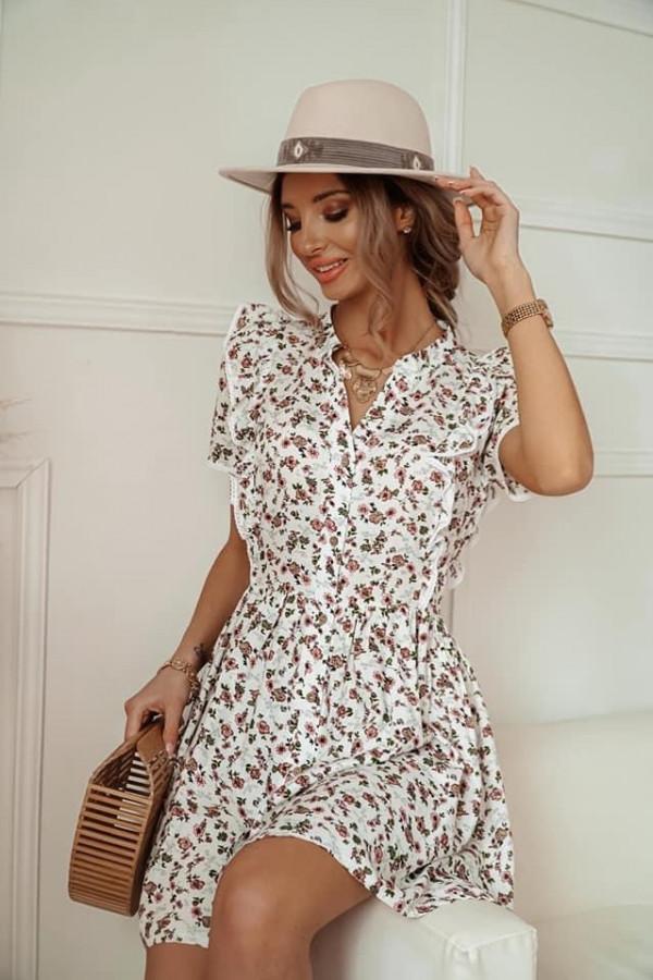 Biała sukienk w kwiatki Dalia