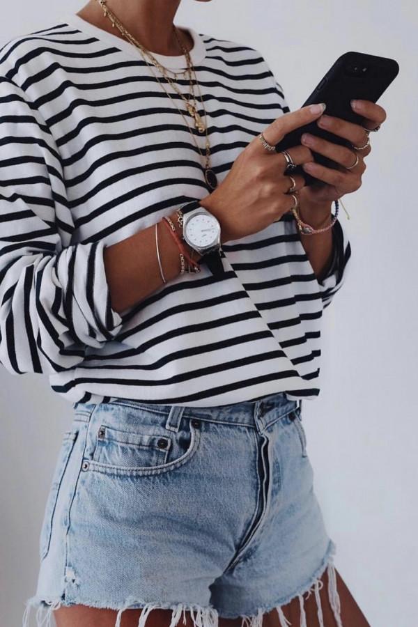 Bluzka w biało czarne paski