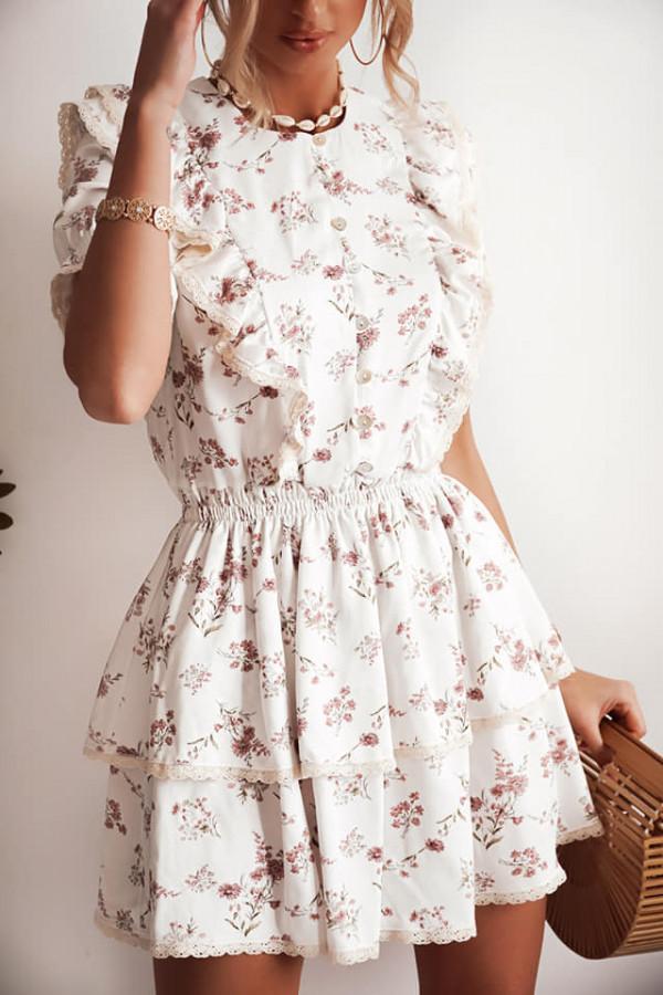 Sukienka w kwiatki Bella biała