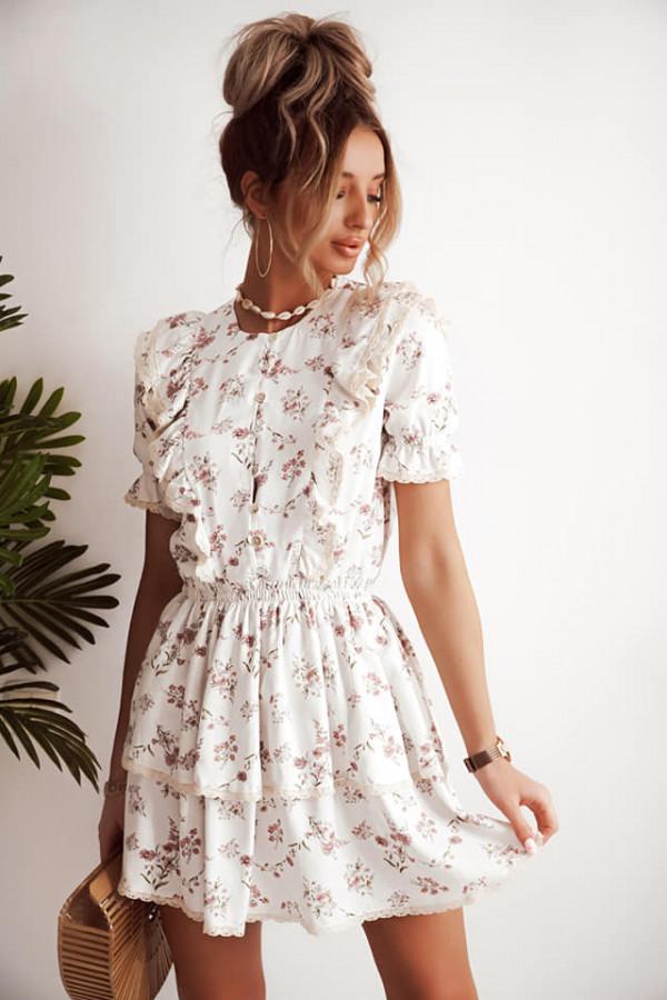 Sukienka w kwiatki Bella biała 1