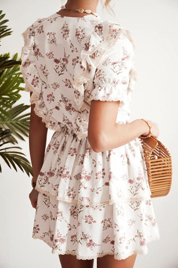 Sukienka w kwiatki Bella biała 2