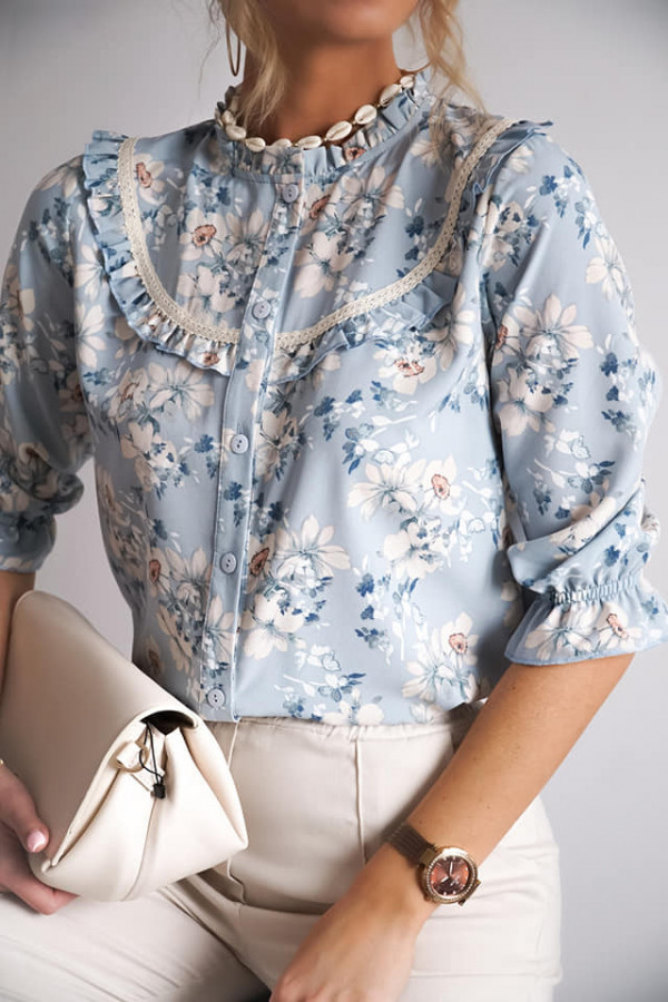 Bluzka w kwiatki Silvia błękitna IV
