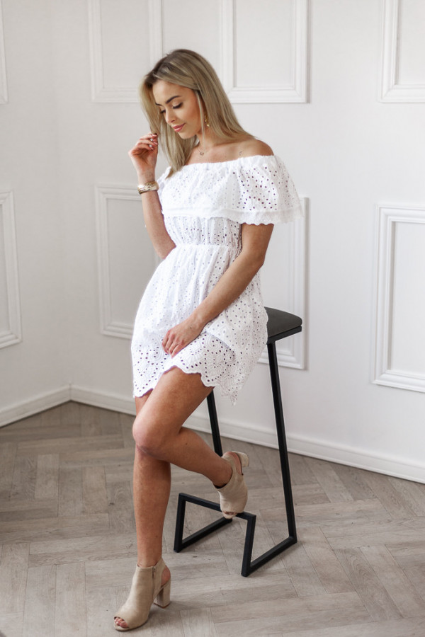 Sukienka hiszpanka ażurowa biała 1