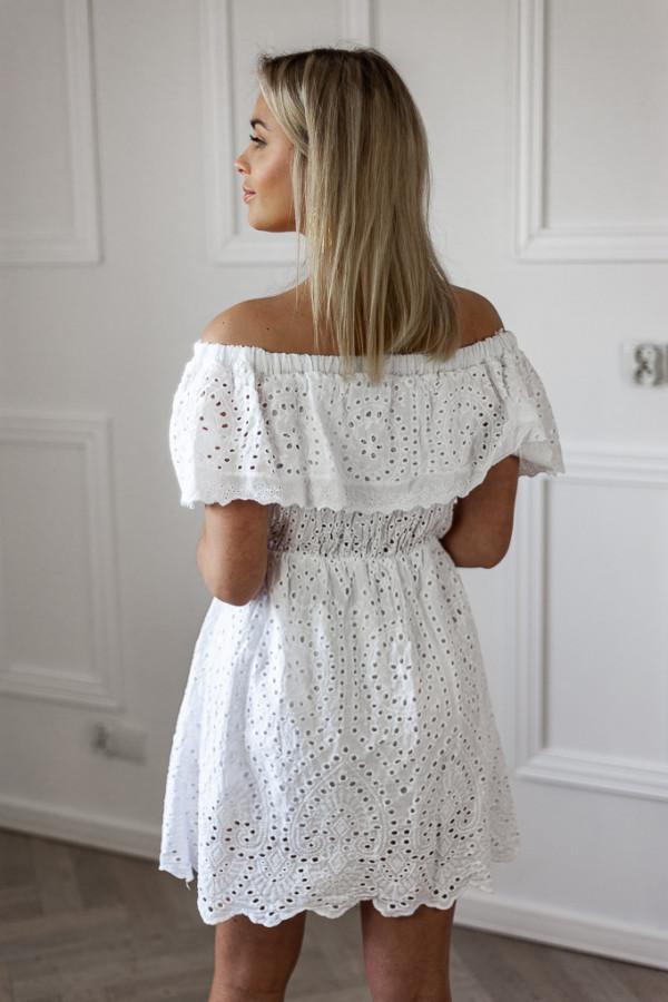 Sukienka hiszpanka ażurowa biała 2