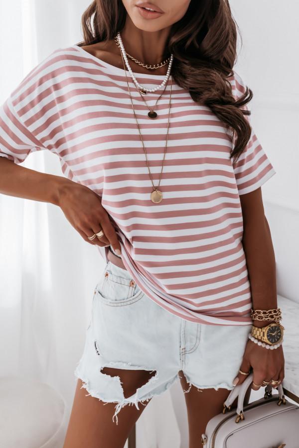 Bluzka marine biała w różowe paski 1