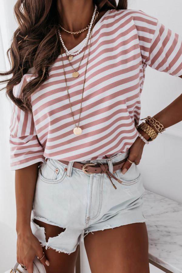 Bluzka marine biała w różowe paski 3