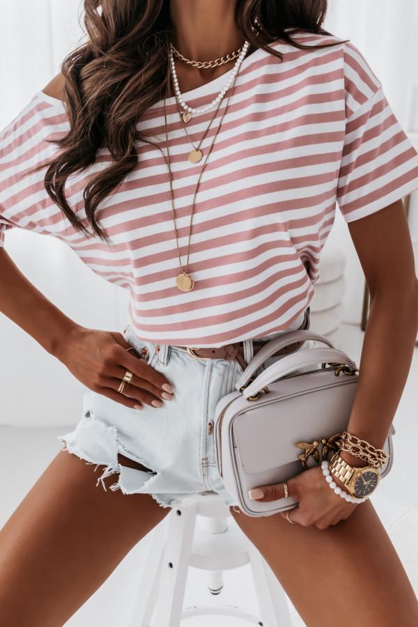 Bluzka marine biała w różowe paski 4