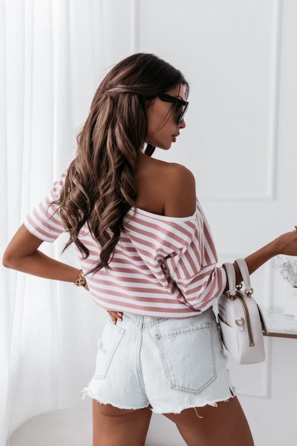 Bluzka marine biała w różowe paski 5