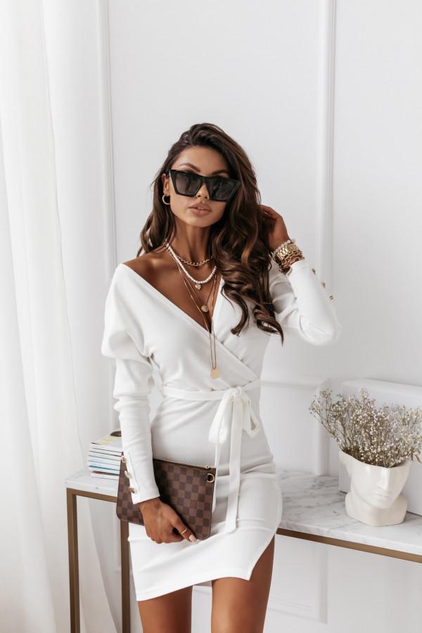 Sukienka biała z paskiem Midi