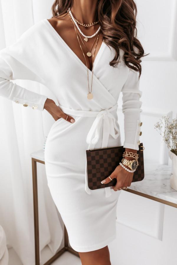 Sukienka biała z paskiem 3