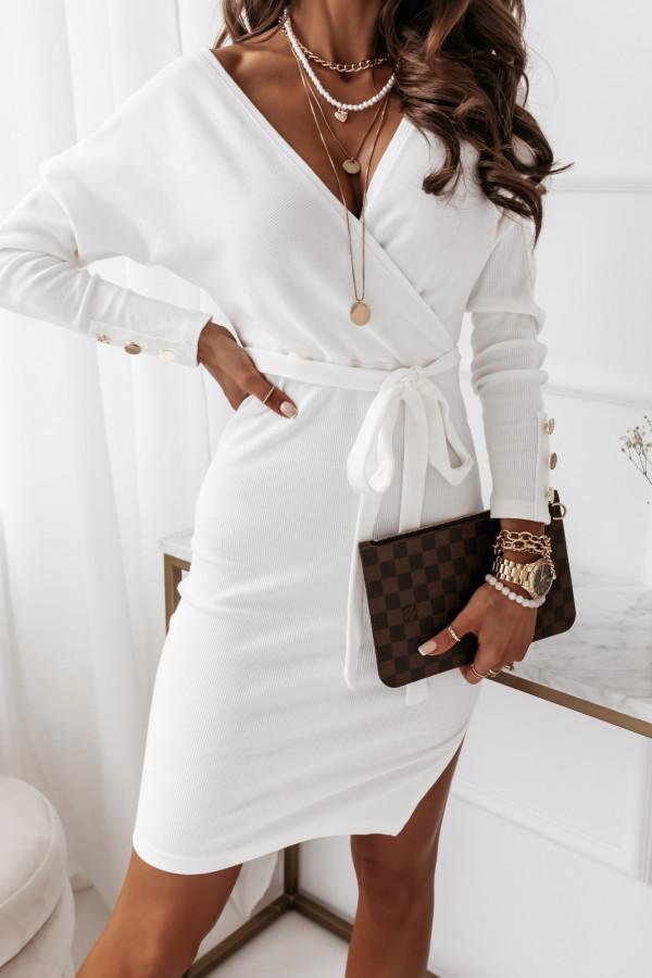 Sukienka biała z paskiem 4