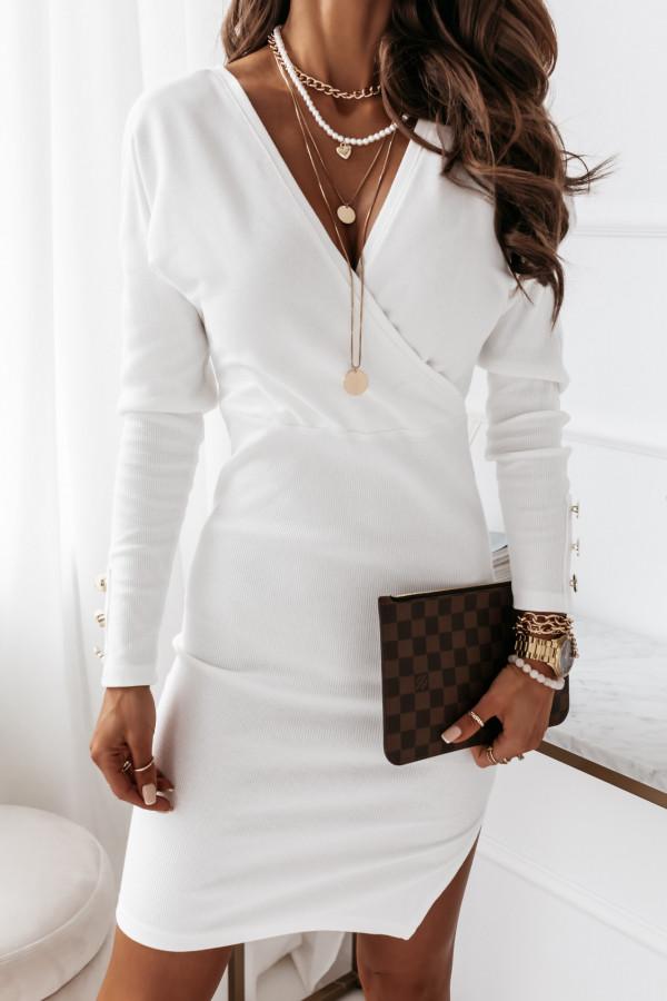 Sukienka biała z paskiem 5