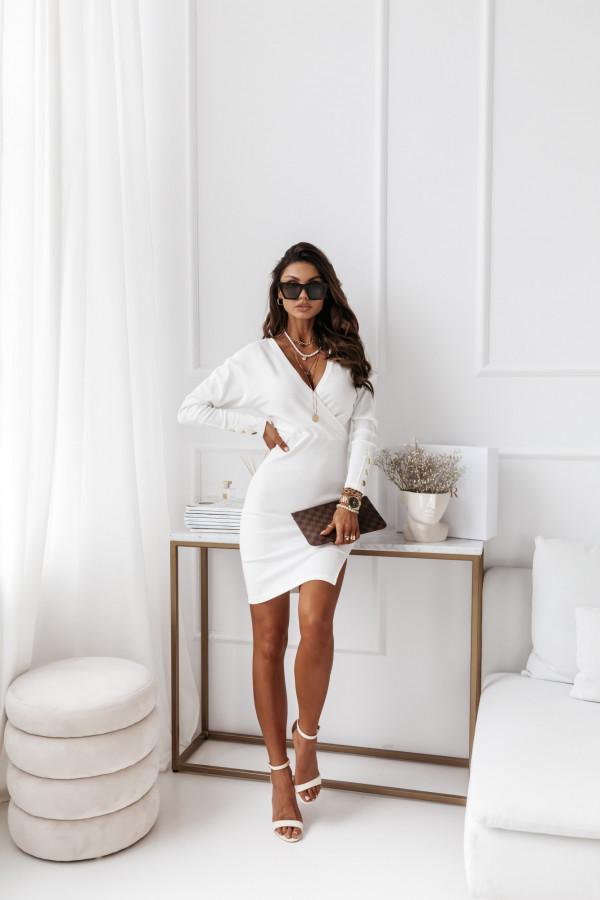 Sukienka biała z paskiem 8