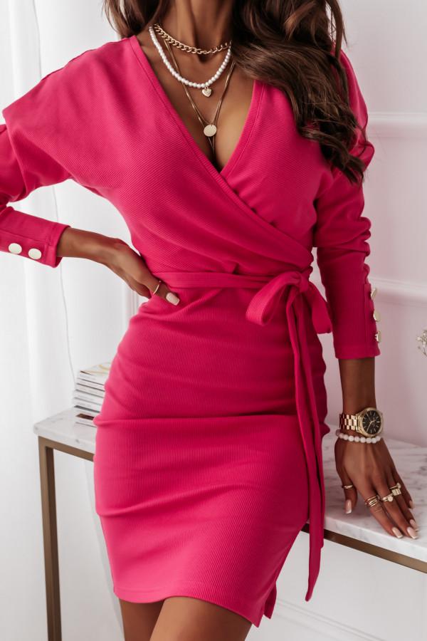 Sukienka z paskiem różowa 6
