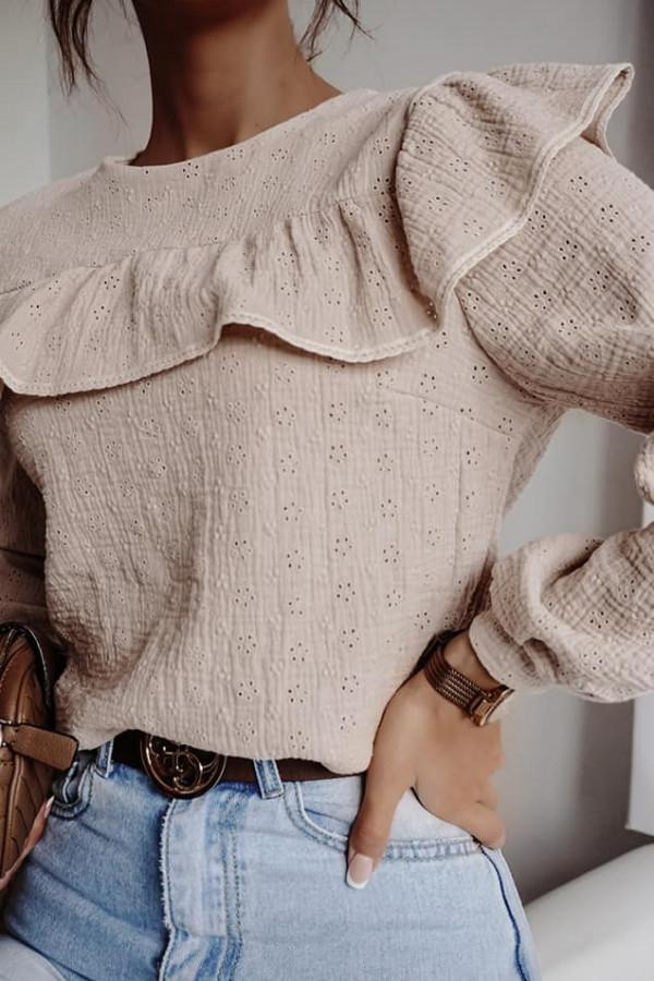 bluzka ażurowa uno mocca