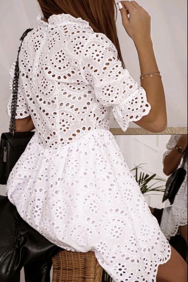 Ażurowa sukienka biała 1
