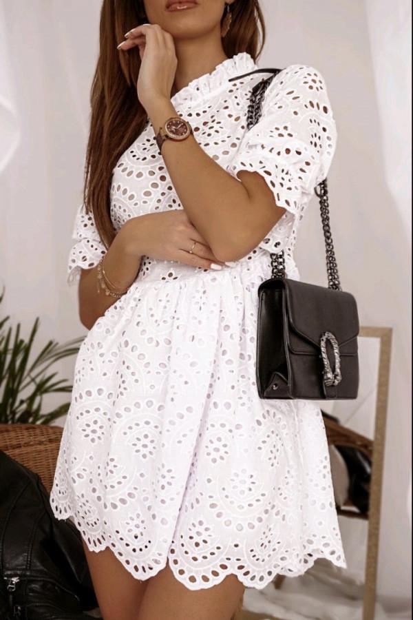 Ażurowa sukienka biała 2
