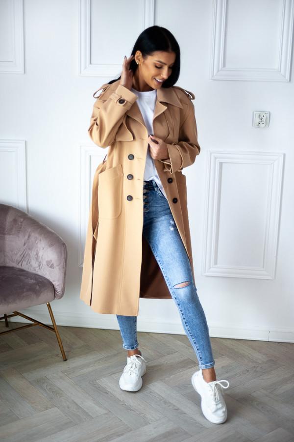 Płaszcz beżowy z guzikami Lauren