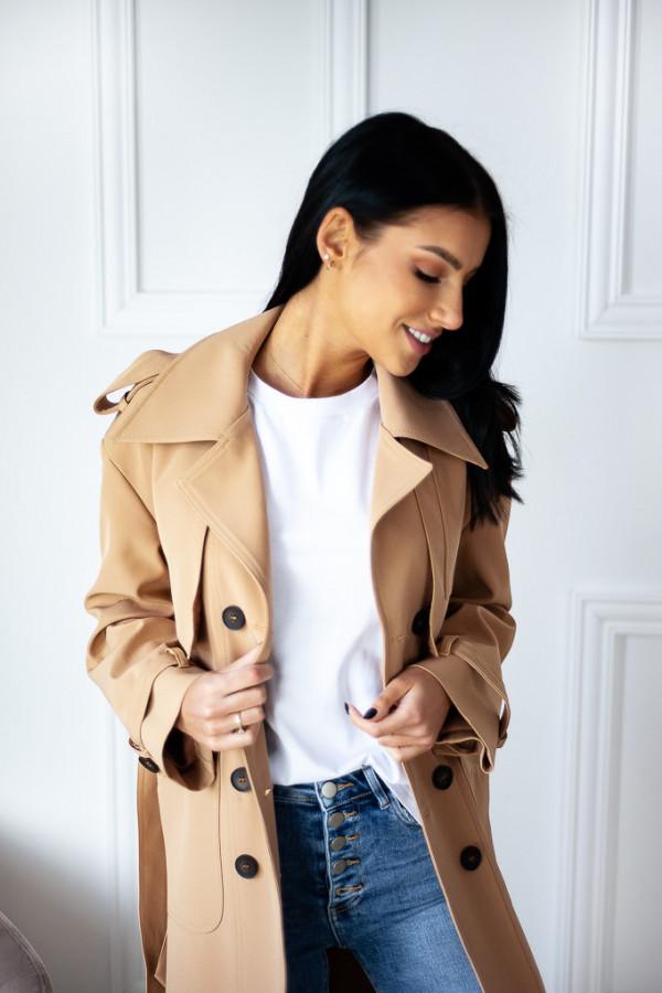Płaszcz beżowy z guzikami Lauren 3
