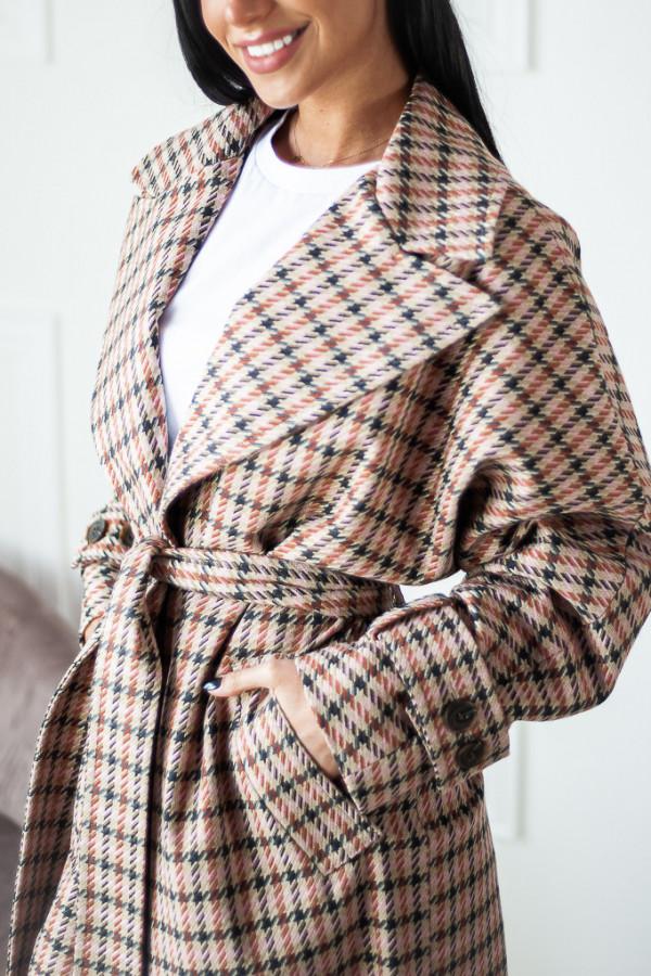 Płaszcz beżowy w kratę Brooke 2