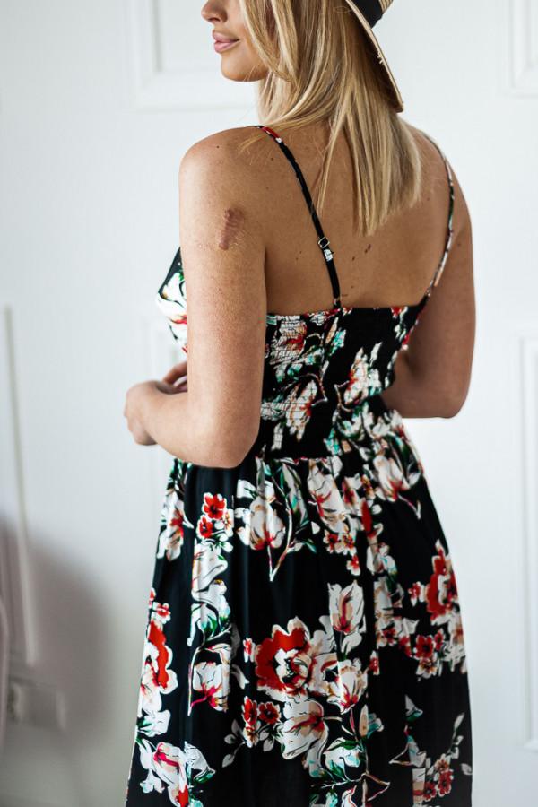 Sukienka czarna w białe kwiaty Emily 4