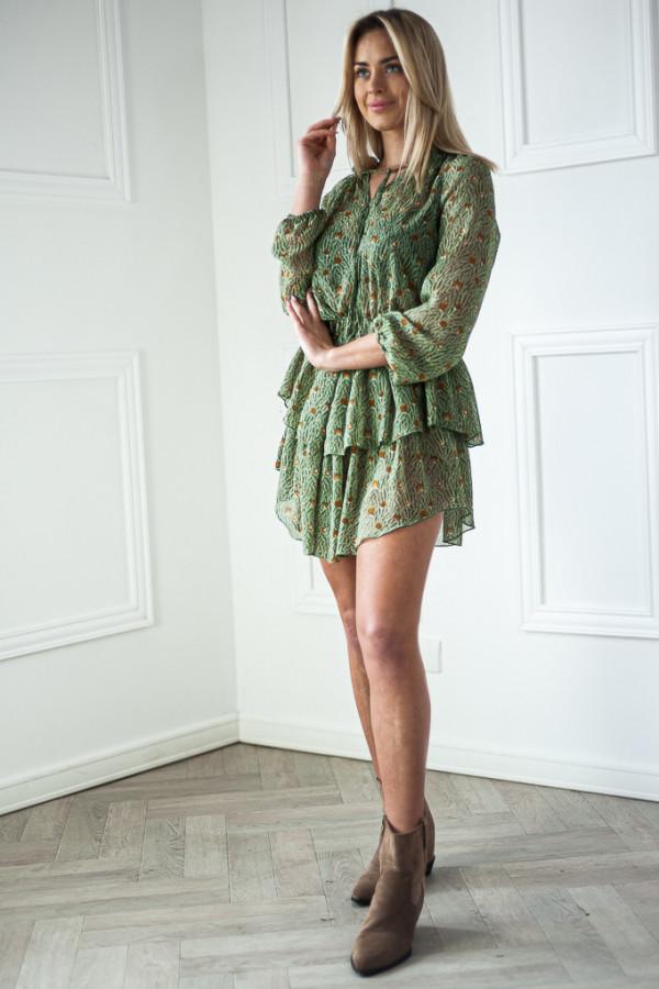 Sukienka z falbankami Kelly zielona