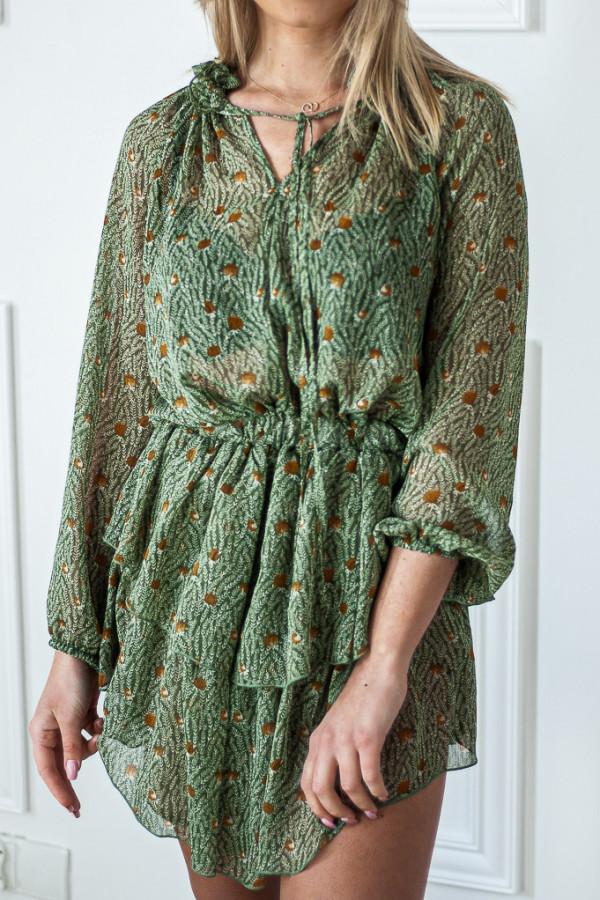 Sukienka z falbankami Kelly zielona 1