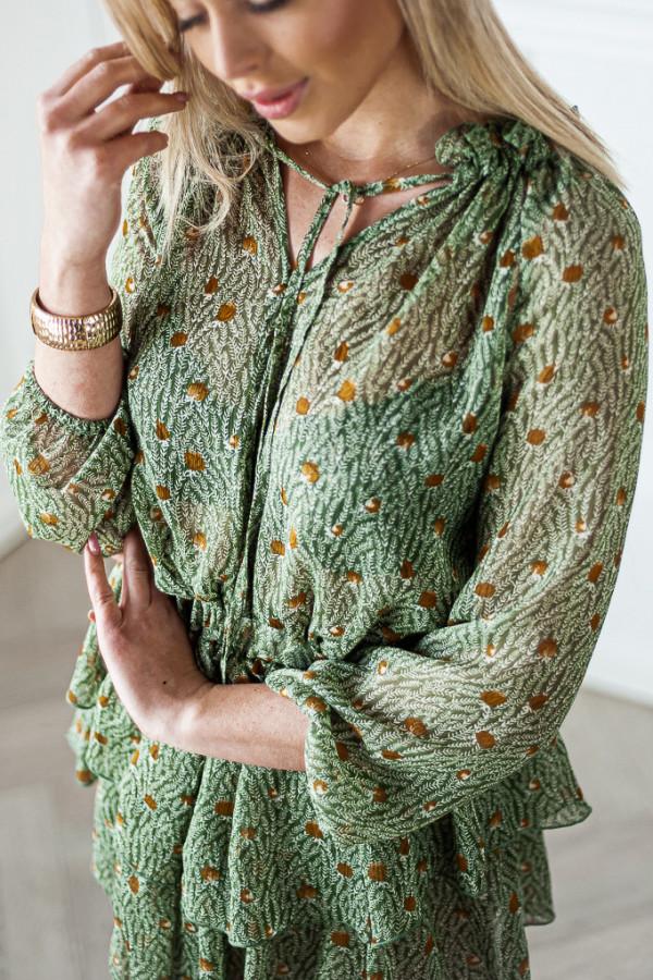 Sukienka z falbankami Kelly zielona 3