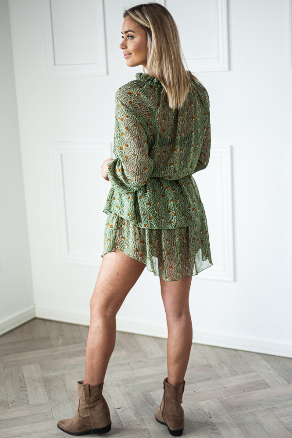 Sukienka z falbankami Kelly zielona 4