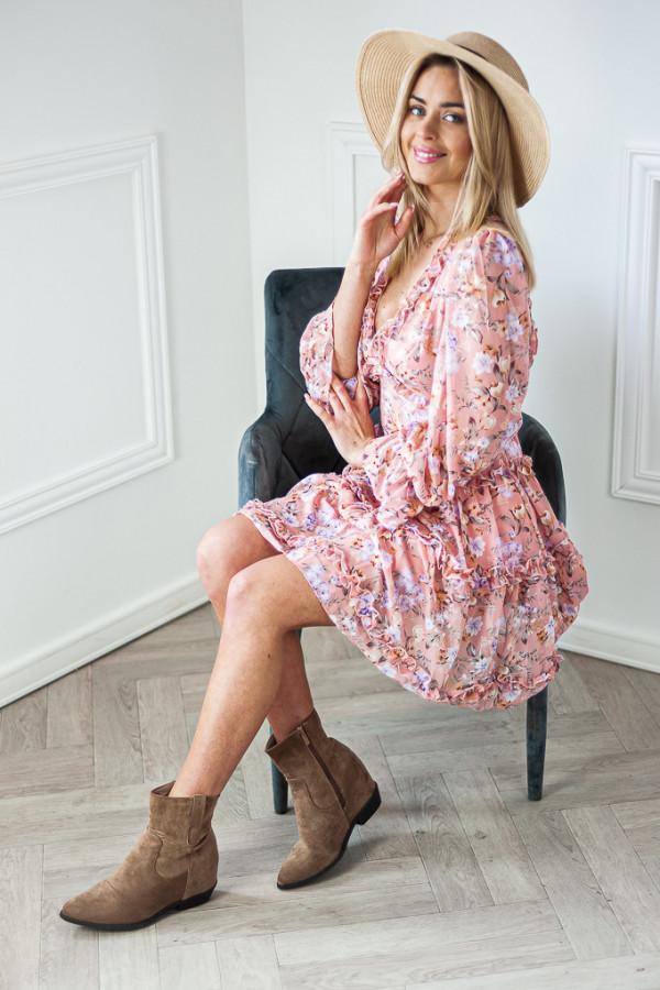 Sukienka w kwiaty Sophie różowa 1