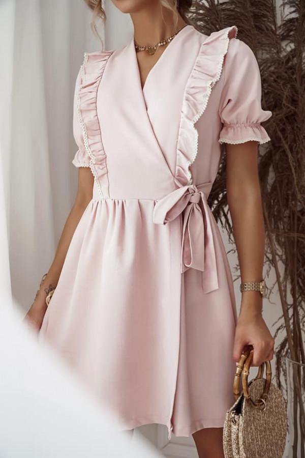 Sukienka wiązana różowa 1