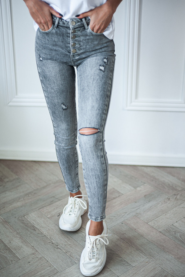 Spodnie jeansowe ciemne z dziurami Judy 1