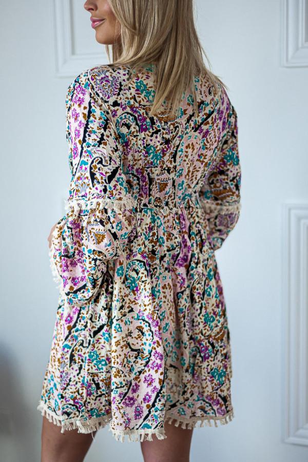 Sukienka jasna z wiązaniem w kwiaty Elise 2