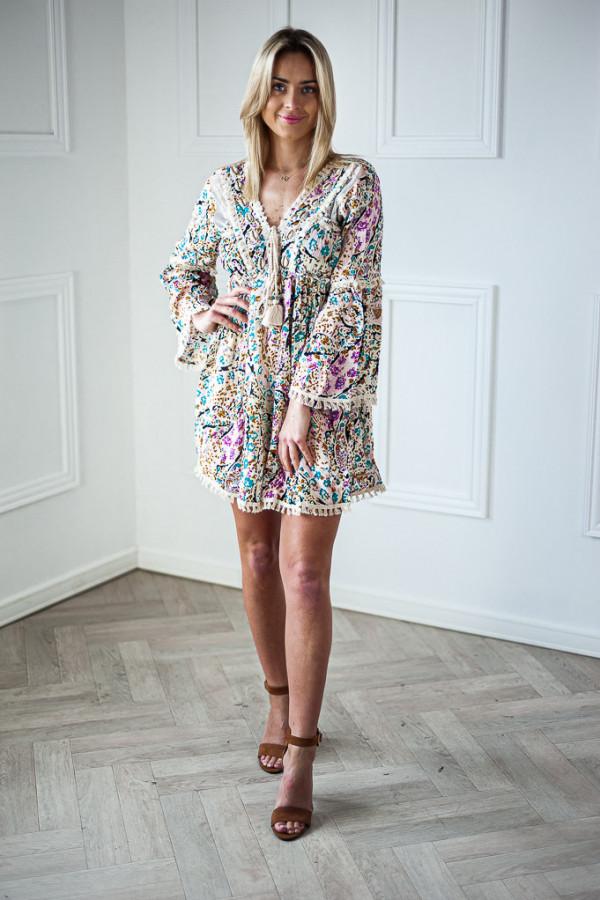 Sukienka jasna z wiązaniem w kwiaty Elise 4