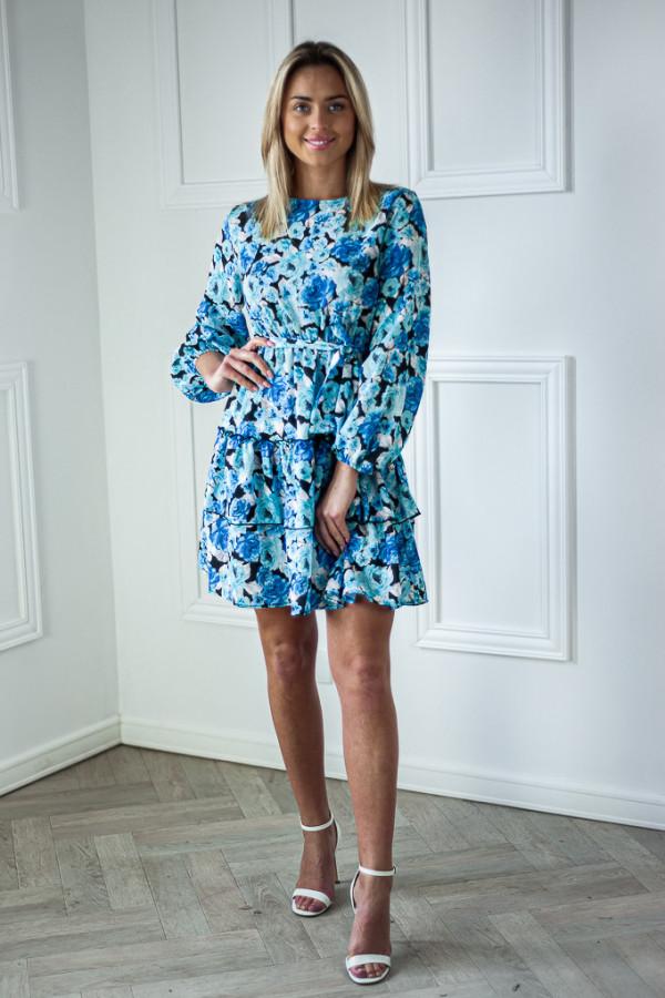 Sukienka niebieska z falbankami w kwiaty Jose