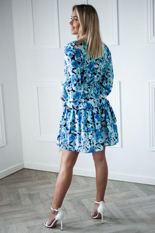 Sukienka niebieska z falbankami w kwiaty Jose 2