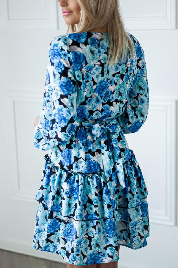 Sukienka niebieska z falbankami w kwiaty Jose 3