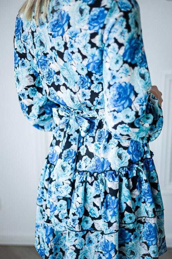 Sukienka niebieska z falbankami w kwiaty Jose 4