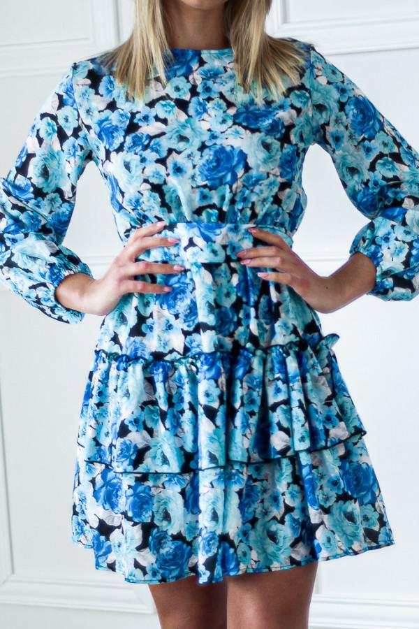 Sukienka niebieska z falbankami w kwiaty Jose 5