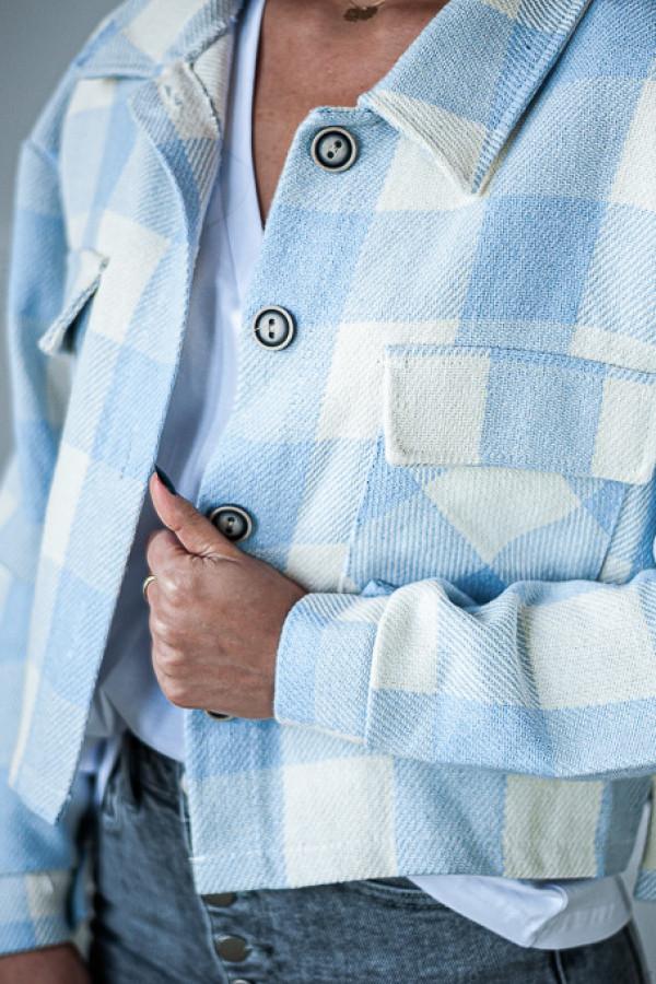 Kurtka w niebiesko biała kratę z guzikami Nell 2