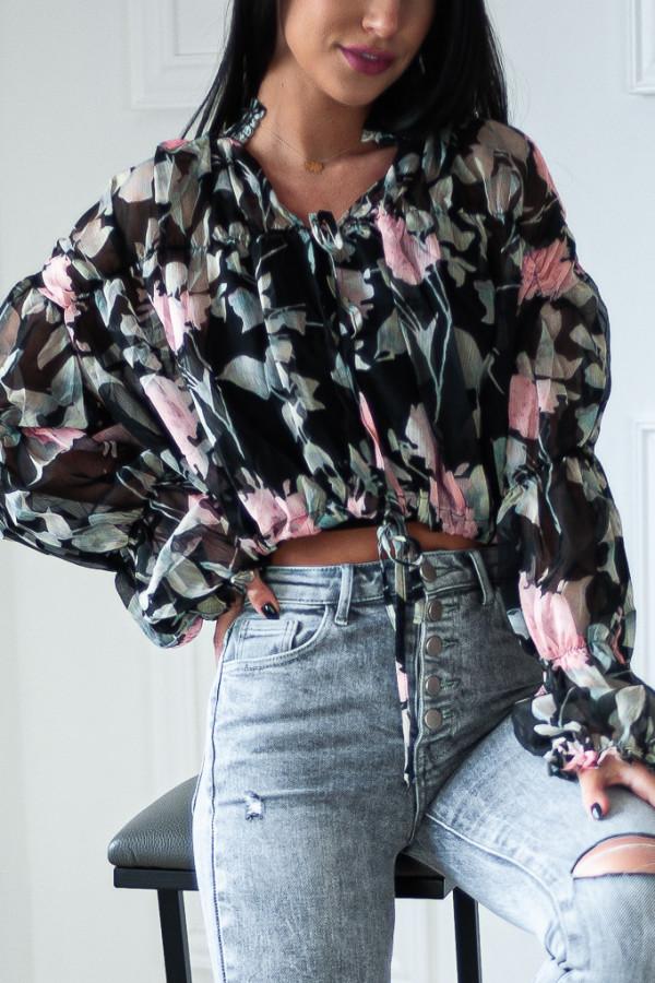Bluzka czarna luźna w kwiaty Emily 4