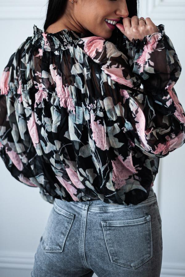 Bluzka czarna luźna w kwiaty Emily 5