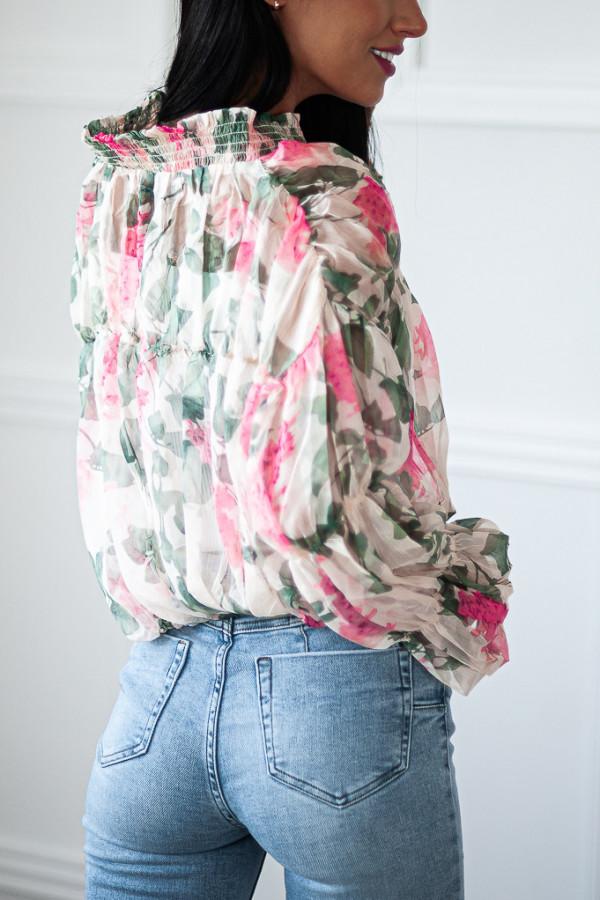 Bluzka biała luźna w kwiaty Emily 3