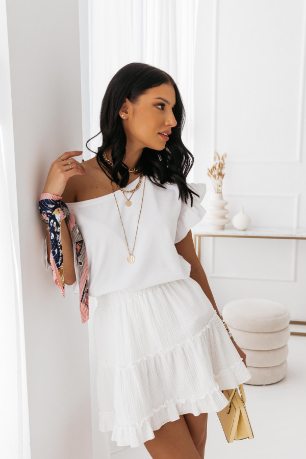 T-shirt z falbankami biała Diana 2