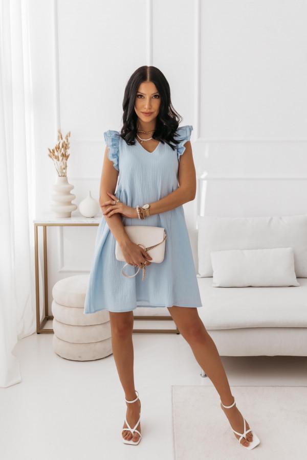 Niebieska muślinowa sukienka