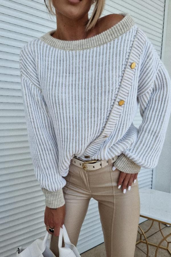 Sweter z złotymi guzikami Madlen