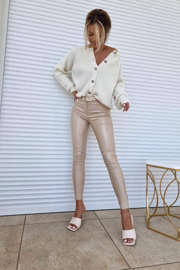 Woskowane spodnie beige V