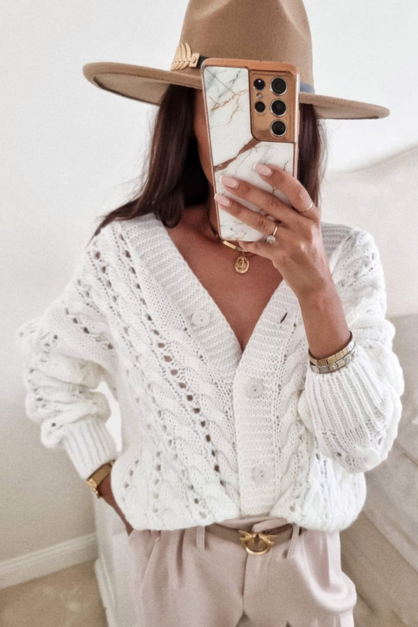 Sweter biały z guzikami Sofia