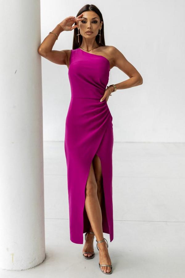 Sukienka na jedno ramię z rozcięciem- śliwka