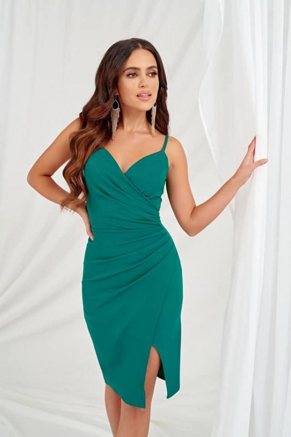 Sukienka Shila na cienkich ramiączkach - butelkowa zieleń